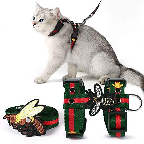Cat Harness with Leash Set- Adjustable Embroidered Bee H Style Harness and Leash for Walking (L, Green)