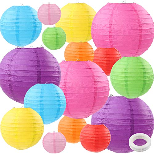 ZJHAI 16 Packs Colorful Paper Lanterns Multi-Color Hanging Paper Lanterns for Home Decoration, Wedding, Party Decoration (4 Inches, 6 Inches, 8 Inches, 10 Inches)