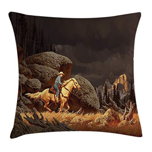 Funda de cojín occidental, un paisaje de montaña de roca con un estilo vaquero de caballo América del Norte, funda de almohada decorativa cuadrada, 45,7 x 45,7 cm, color amarillo y gris