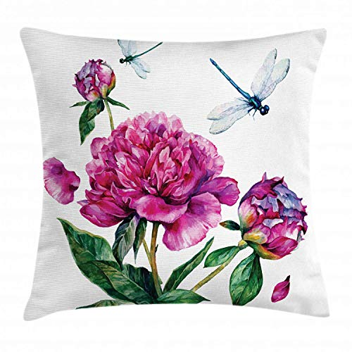 Alan Connie Flower Pillow Cover,Watercolor Peonies and Dragonflies Blossoming Spring with Romantic Feminine Bouquet,45 X 45 CM