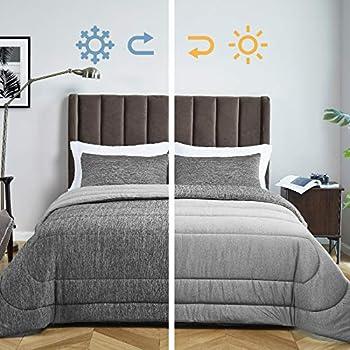 Bedsure Queen Bed Comforter Set - All Season Reversible Warm & Cooling Comforter Down Alternative Queen Size Comforter Soft Polyester Fill Duvet Insert 3 Pieces with 2 Pillow Shams  Grey 88x88