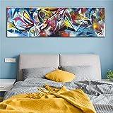 KWzEQ Pintura sin Marco Línea de Arte Abstracto Colorido Lienzo de Acuarela decoración Moderna de la habitación del Arte popAY7008 30X90cm