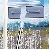 Limpiacristales Ducha para Baño, Limpiador de Ventanas,rasqueta limpiacristales ducha y Microfibra Ventana Arandela para Baño, Cocina, Espejo, Ventana (30 * 80-110cm)