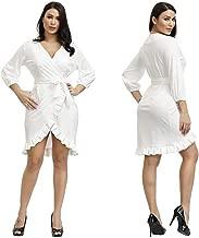 Halfword Sexy Short Dresses for Women - V Neck 3/4 Sleeve Wrap Ruffle Hem Cute Cocktail Party Mini Dress