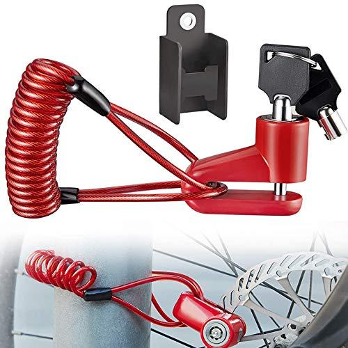 Blocco Freno a Disco, Monopattini elettrici Blocco di Sicurezza, Antifurto Filo di Acciaio Blocco, per Moto Bicicletta E-Scooter (Rosso)