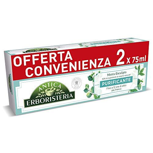 Antica Erboristeria, Dentifricio Purificante per Alito Fresco con Ingredienti Naturali, Gusto Menta e Eucalipto, 2 x 75 ml
