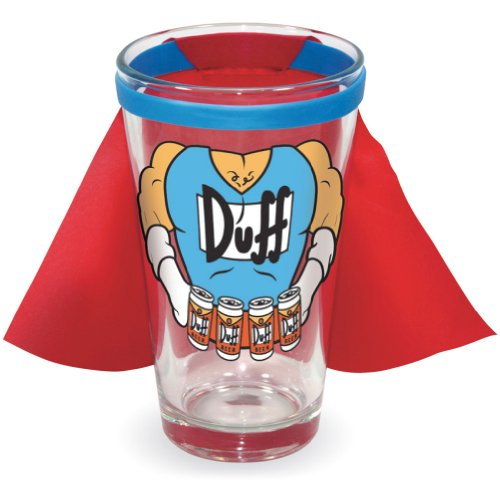 The Simpsons Duff Man Beer Drinking Pinte with Cape