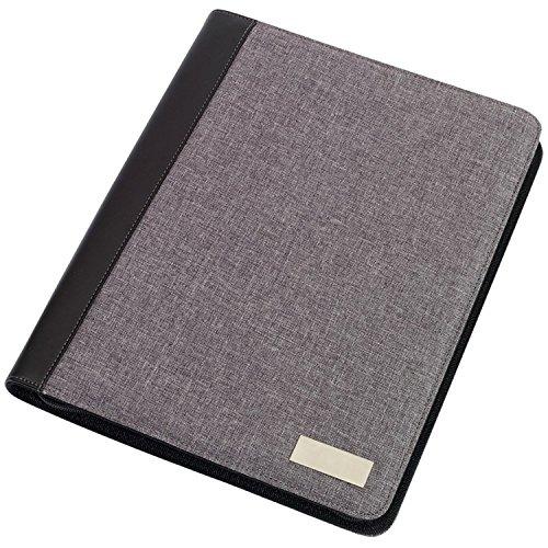 Portfolio Din A4, Dokumentenmappe nutzbar als Schreibmappe Linen inkl Schreibblock + Rechner Grau 33 x 26 x 2,3 cm