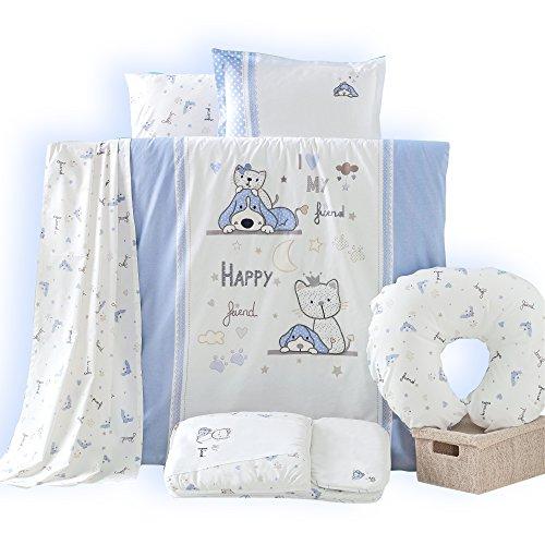 Sei Design Enfants Le Linge de lit Happy   100% Coton avec Une Broderie de Haute qualité   Housse de Couette 100x135 + taie d'oreiller 40x60 avec Zip.