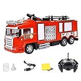 Camión de bomberos con control remoto, escalera extensible, simulación de motor de bomberos, baúl de fuego eléctrico con un solo botón, rociador de agua juguete de coche RC con sonido y luz para niños