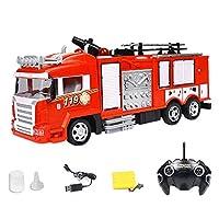 N/R 消防車のおもちゃ、リモートコントロール消防車シミュレーション電気消防車1ボタン水スプレーRC車のおもちゃ、子供女の子インテリア屋外RC車、光と音のおもちゃの救急車,救急車のおもちゃ sustainable