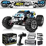 1:10 Scale Large RC Cars 48+ kmh Speed - Boys Remote Control Car 4x4 Off Road Monster Truck Electric - All Terrain Waterproof Toys Trucks for Kids and Adults - 2 Batteries + Connector for 40+ Min Play