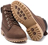 Geddard Waterproof Womens Work Boots Low Heel Brown Combat Booties Short lace Up Platform Casual Boots Size 8