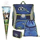 Soccer Blue - Fußball Football - Leicht-Schulranzen Set Ranzenset Baggymax SIMY Hama 4tlg. mit SCHULTÜTE