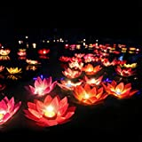 Beaupretty 15pcs Lotus Floating Light Water Lily Floating Candle Lanterns Pool Pond Tank Flower Night Lamp Decorative Floating Candles Lights for Praying Festival (Random Color)