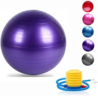 Jranter Yoga Exercise Ball 55/65/75/85/95cm with Quick Foot Pump Professional Grade Anti Burst & Slip Resistant Balance Ball for Workout& Fitness (5 Colors Optional)