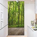 Pellicola per Vetri Adesivo di Vetro Albero Paesaggio Verde Opache Glassate Privacy,Attraverso La Luce Window Glass Sticker Adesivo per Finestra Pellicola per Porte 90x200cm