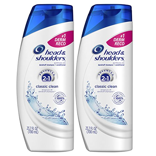 Head and Shoulders, Shampoo and Conditioner 2 in 1, Anti Dandruff, Classic Clean, 23.7 fl oz, Twin Pack