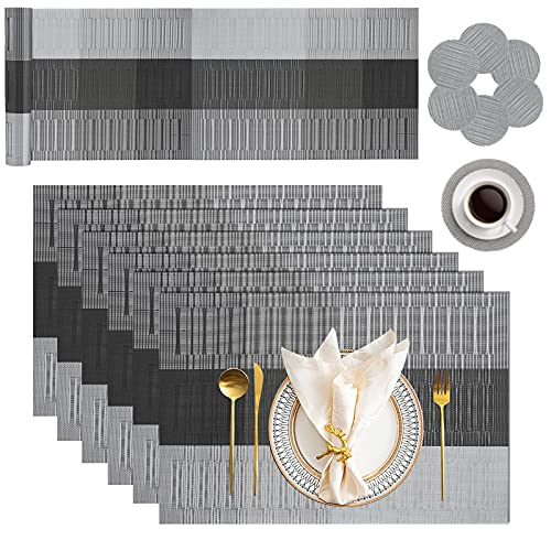 LKKCHER Placemats Table Mats Set with 6 x Placemats + 6 x Coasters + 1 x Long Table Mat Resistant Anti Slip Table Place Mats and Coaster Sets for Home Restaurant, Grey & Black