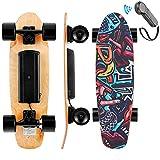 WOOKRAYS Skateboard Elettrico con Telecomando, Motore da 350W, velocità Massima 20 KM/H, Regolazione a 3...