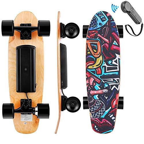WOOKRAYS Elektrisches Skateboard, Elektro Skateboard mit Fernbedienung, 350W Motor, Höchstgeschwindigkeit 20KM/H, 3-Gang Einstellung E-Skateboard für Kinder, Jugendliche, Erwachsene (Schwarz)
