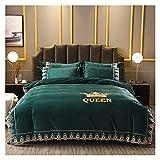 Juego de funda de edredón de 4 piezas, juego de cama de matrimonio, juego de sábanas de doble encaje, suave, cálido y...