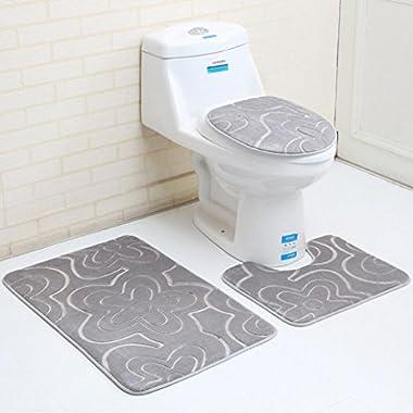 Fiaya 3Pcs Floral Pattern Bathroom Set Rug Contour Mat+Toilet Lid Cover +Plan Solid Color Bath Mats (A)