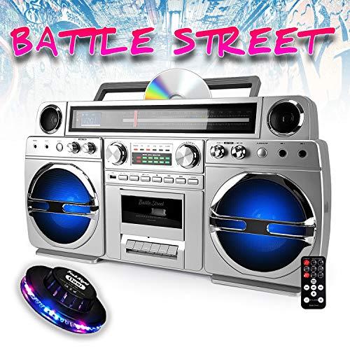 Ghetto-Blaster Portable Bluetooth avec Lecteur CD/Cassette - 60W - USB - Battle-Street + Light OVNI RVB