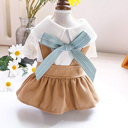 Falda para perros y gatos para primavera y verano, color caqui, con lazos, talla XL
