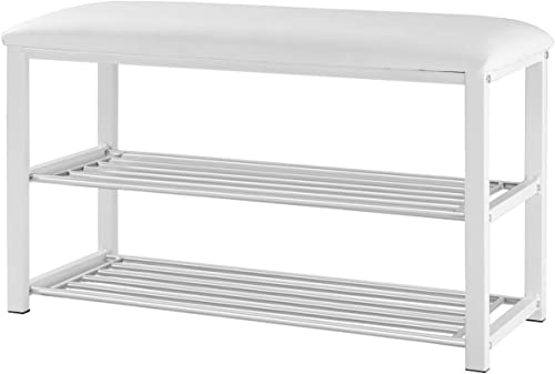 new arrival Giantex 2 Tier online Entryway Storage Bench w/Shoe Rack Shelf Soft outlet sale Stool Seat Home Furniture Shoe Organizer (White) online sale