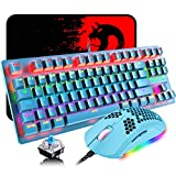 Mechanical Gaming Keyboard and Lightweight Honeycomb Mouse with Compact 88 Key Anti-ghosting Rainbow Backlight Blue Switch Ergonomic Adjustable 6400 DPI Mice USB Wired for PC Mac Gamer Typist (Blue)