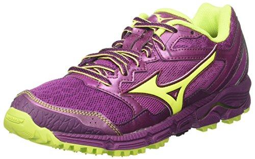 Mizuno Wave Daichi 3 Wos, Zapatillas de Running Mujer, Multicolor (Clover/safetyyellow/Darkpurple 44), 36.5 EU