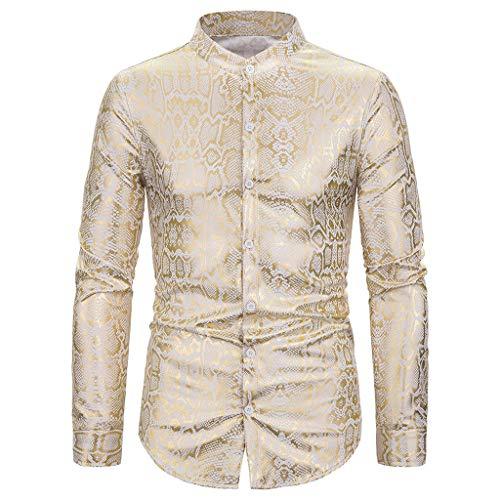LUCKYMEN Men's Luxury Design Slim Fit Long Sleeve Button Down Shirts Gilded Printed Stylish Dress Shirt