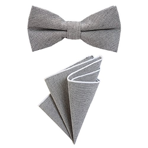 DonDon Herren Fliege 12 x 6 cm gebunden längenverstellbar und Einstecktuch 23 x 23 cm farblich passend aus Baumwolle grau