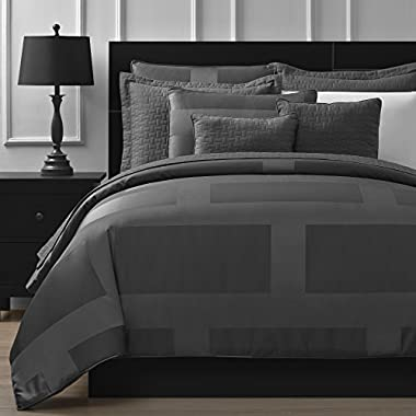 Comfy Bedding Frame Jacquard Microfiber Queen 8-piece Comforter Set, Gray