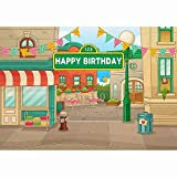 Allenjoy 7x5ft Sesame Street Theme Backdrop Cartoon Store Red House Flag Light Happy Birthday Photography Background Children Baby Shower Party Decoration Cake Table Banner Photo Studio Booth Props