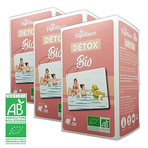 Les Papoteuses | Tisane Organic Detox (gracias a diente de Leon y bardana) | Infusion organica 20 sobres | Hojas de diente de Leon, Raiz de Reglisse y Hojas de menta | Lote de 3 cajas