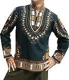 RaanPahMuang Chinese Mandarin Stand Up Collar Long Sleeve African Dashiki Shirt, X-Small, Green Brown
