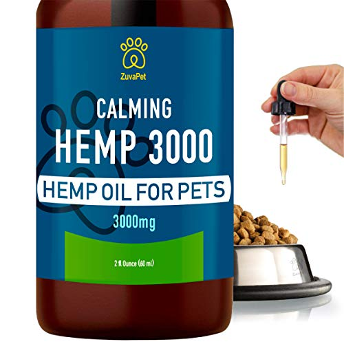 Hemp Oil for Dogs and Cats (3000mg | 120 servings) #1 Calming Treats for Dogs - Immediate Dog Anxiety Relief for Dogs & Cats - Joint Supplement for Dogs - Natural Hemp Oil Dog Calming Aid w/ Omega 3