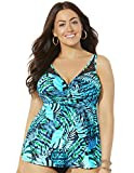 Swimsuits For All Women's Plus Size Bra Sized Crochet Underwire Tankini Top 38 D Green Palm