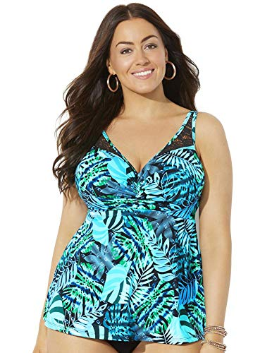 SWIMSUITSFORALL Swimsuits for All Women's Plus Size Bra Sized Crochet Underwire Tankini Top 46 G Green Palm