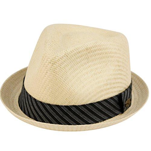 Epoch Hut für Herren, Sommer, Fedora, kubanischer Stil, kurze Krempe - beige - Large/X-Large