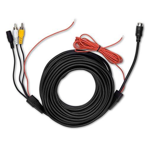 Carmedien 15 Meter Rückfahrkamera Anschlusskabel 15m Cinch Verbindungskabel auf 4-Pin Schraubverschluss (RCA, Audio, Video) mit Schaltimpuls und 12-24V Spannungsversorgung