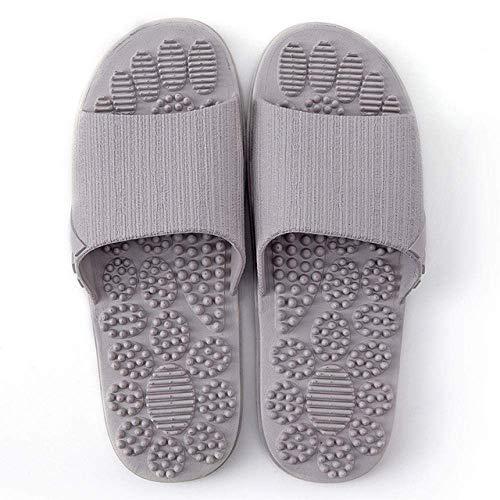 CCJW Indoor Outdoor Bath Sandal,Couple foot massage slippers, home bathroom non-slip soft-soled slippers-grey_37-38,Low Wedge Slip On Toe Post Sandals kshu