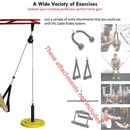 SYL Fitness LAT Pulley System Cable Machine Attachment with Loading Pin for Pull Down Crossover DIY Garage Gym Equipments