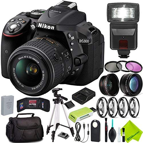 Nikon D5300 DSLR Camera (Body Only, Black) with Nikon 18-55mm f/3.5-5.6G Lens Starter Bundle Kit 76