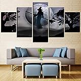 ZCYZYM Poster de Halloween 5 Piezas HD Imprime la Bruja Full Moon Festival de Lienzo Arte de la Pintura Cuadros de la Pared for el capítulo de la Sala de Estar Decoración