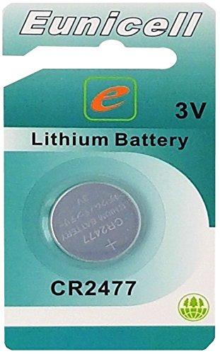 Eunicell 1 x CR2477 3V Lithium Knopfzelle 1050 mAh (1 EINZELBLISTER) EINWEG Markenware
