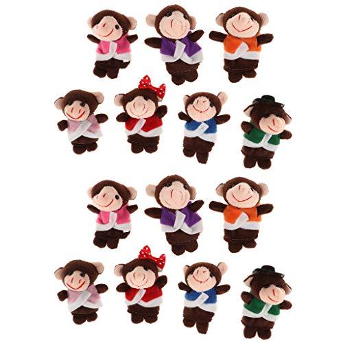 perfeclan 14 Piezas Monos Marionetas de Dedo para Niños Juguetes de Tela de Felpa para Contar Historias en La Cama