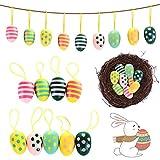 Uova Pasquali Colorate CHEPL Set di 9 Uova di Pasqua in Legno Uovo Decorativo di Pasqua Ornamenti d'attaccatura Adatti a Decorazione Della Stanza Della del Giardino di Festa di Pasqua
